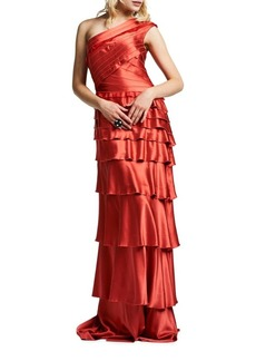 Kay Unger New York Kay Unger One-Shoulder Tiered Gown