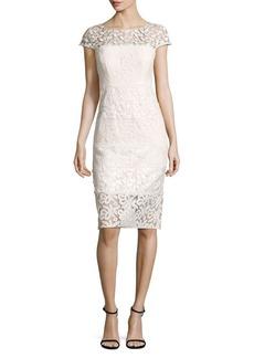 Kay Unger New York Kay Unger Paneled Lace Sheath Dress