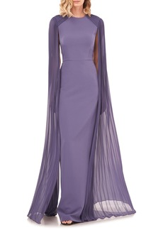 Kay Unger New York Kay Unger Pleated Cape Sleeve Column Gown