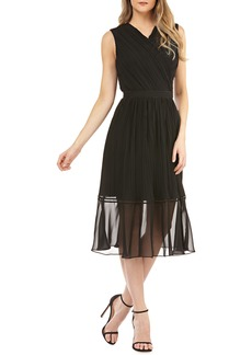 Kay Unger New York Kay Unger Pleated Chiffon Faux Wrap Cocktail Dress