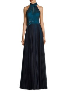 Kay Unger New York Kay Unger Pleated Halter Gown