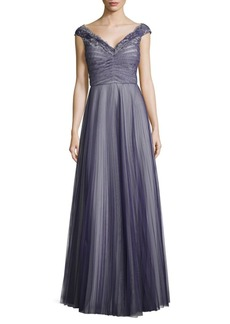 Kay Unger New York Pleated Tulle and Lace Gown