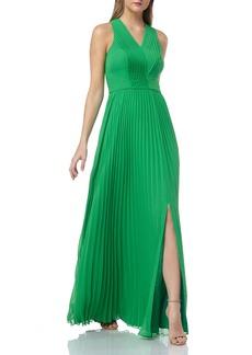 Kay Unger New York Kay Unger Pleated V-Neck Dress