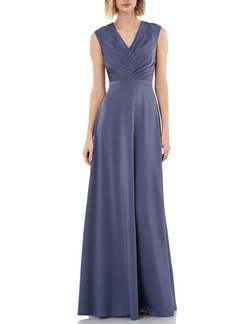 Kay Unger New York Kay Unger Pleated V-Neck Stretch Faille Gown