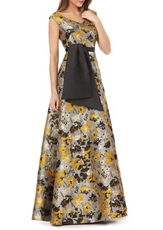 Kay Unger New York Kay Unger Portrait Floral Jacquard Gown