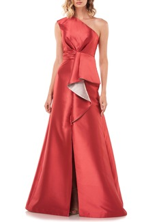 Kay Unger New York Kay Unger Riley One-Shoulder Ruffle Gown