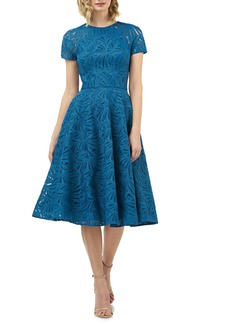 Kay Unger New York Kay Unger Rose Lace Fit & Flare Midi Cocktail Dress