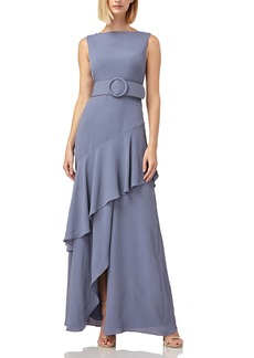 Kay Unger New York Kay Unger Ruffle Trim Wrap Look Belted Gown