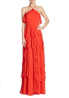 Kay Unger New York Ruffled Halterneck Gown