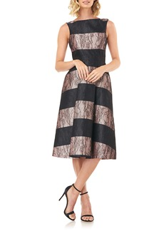 Kay Unger New York Kay Unger Sarah Stripe Floral Lace Cocktail Dress