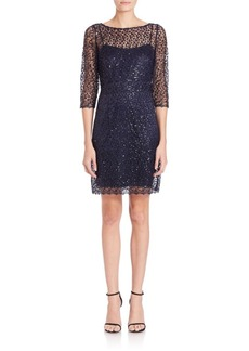 Kay Unger New York Kay Unger Sequined Crochet Sheath Dress