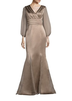 Kay Unger New York Kay Unger Sheer Sleeve Satin Mermaid Gown