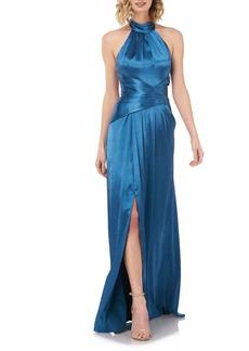 Kay Unger New York Kay Unger Simone Halter Satin Gown
