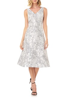 Kay Unger New York Kay Unger Sketch Outline Floral Cocktail Dress