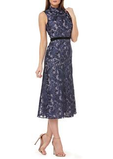 Kay Unger New York Kay Unger Sleeveless Embroidered Tea Length Dress