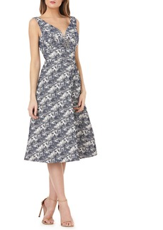 Kay Unger New York Kay Unger Sleeveless Jacquard A-Line Tea Length Dress