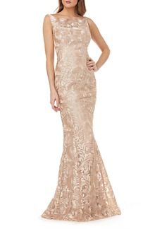 Kay Unger New York Kay Unger Sleeveless Metallic Embroidery Mermaid Gown