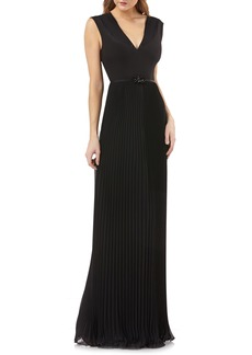 Kay Unger New York Kay Unger Sleeveless Pleated Gown