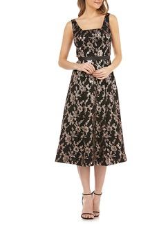 Kay Unger New York Kay Unger Sleeveless Sequin Mesh Tea Length Dress