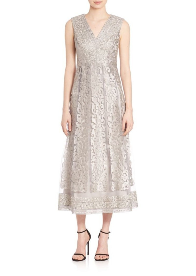 Kay Unger New York Kay Unger Sleeveless Stretch Tulle Lace Gown
