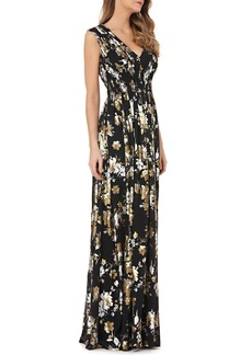 Kay Unger New York Kay Unger Smocked Foil Chiffon Gown