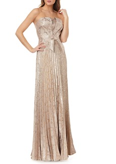Kay Unger New York Kay Unger Strapless Knot Detail Mikado Gown