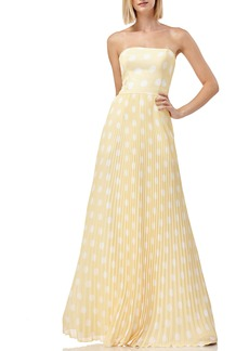 Kay Unger New York Kay Unger Strapless Polka Dot Pleated Gown