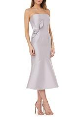 Kay Unger New York Kay Unger Strapless Satin Tea Length Dress