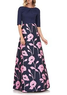 Kay Unger New York Kay Unger Teresa Floral Jacquard Ballgown