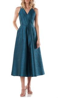 Kay Unger New York Kay Unger Textured Jacquard V-Neck Cocktail Dress