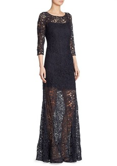 Kay Unger New York Kay Unger Three-Quarter Sleeve Lace Sheer Gown