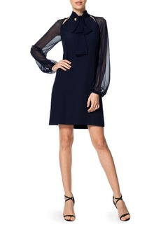 Kay Unger New York Kay Unger Tie-Neck Sheer Sleeved Dress