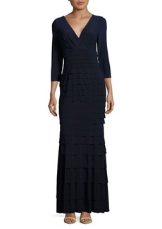 Kay Unger New York Kay Unger Tiered Banded Column Gown