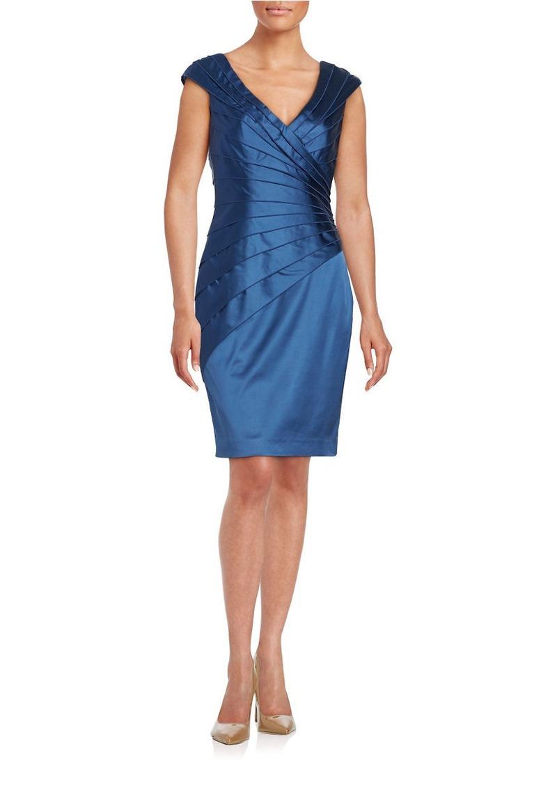 Kay Unger New York KAY UNGER Tiered Satin Cap Sleeve Sheath Dress