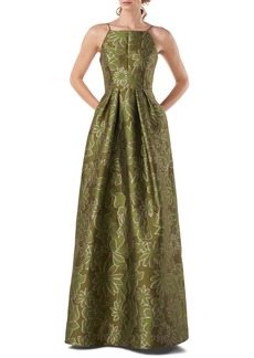 Kay Unger New York Kay Unger Two-Tone Jacquard Sleeveless Ballgown