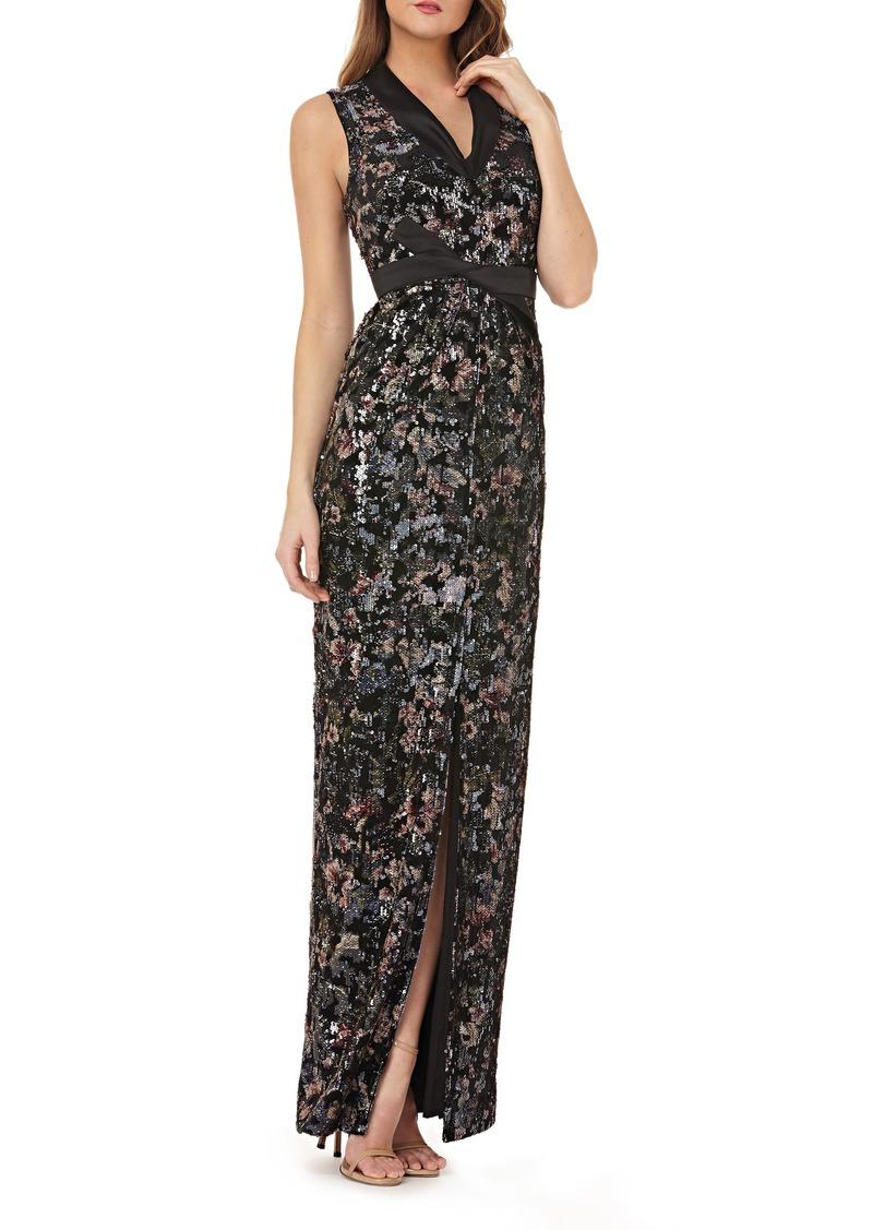 Kay Unger New York Kay Unger Velvet Print Gown