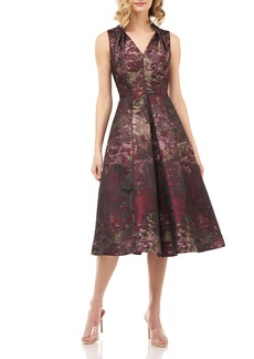 Kay Unger New York Lolita Abstract Jacquard Sleeveless Midi Dress