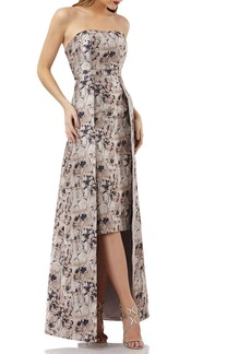 Kay Unger New York Metallic Jacquard Gown w/ Floral Overlay