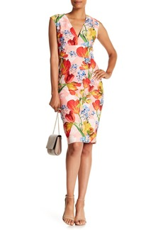 Kay Unger New York Mixed Floral Print V-Neck Dress