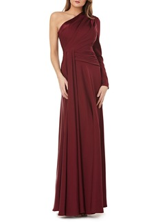 Kay Unger New York One-Shoulder Faille Gown