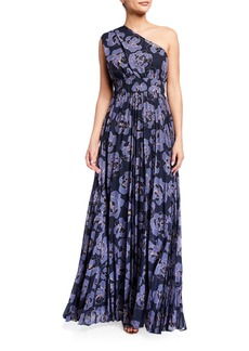 Kay Unger New York One-Shoulder Printed Chiffon Gown