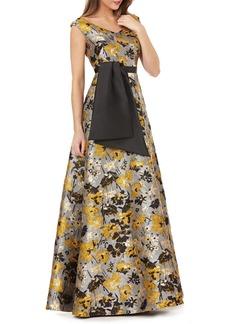 Kay Unger New York Portrait Floral Jacquard Gown