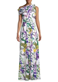 Kay Unger New York Printed One-Shoulder Dress
