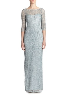 Kay Unger New York Sequined Lace Column Gown