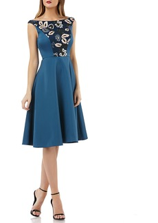 Kay Unger New York Sleeveless Dress w/ Embroidered Sequin Panel