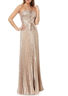 Kay Unger New York Strapless Metallic Jacquard Gown w/ Bow