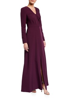 Kay Unger New York Stretch Crepe Long-Sleeve Gown