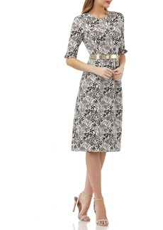 Kay Unger New York Stretch Jacquard Belted Dress w/ Pockets