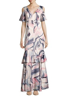 Kay Unger New York Swirl-Print Cold-Shoulder Tiered Gown