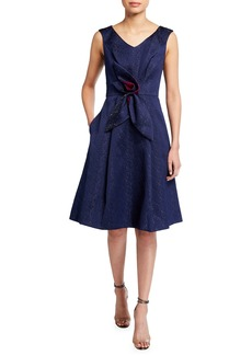 Kay Unger New York Textured Jacquard V-Neck Dress